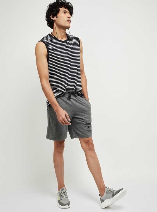 MAX Typographic Print Textured Sports Shorts