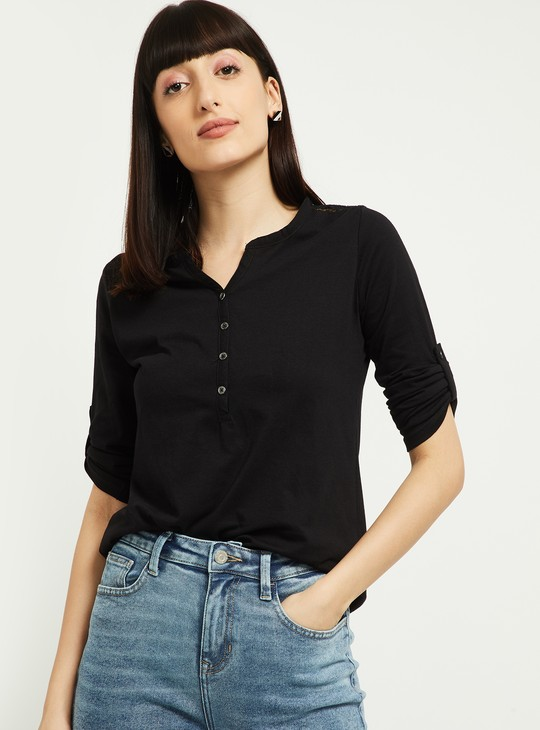 MAX Solid Roll-Up Sleeves Top