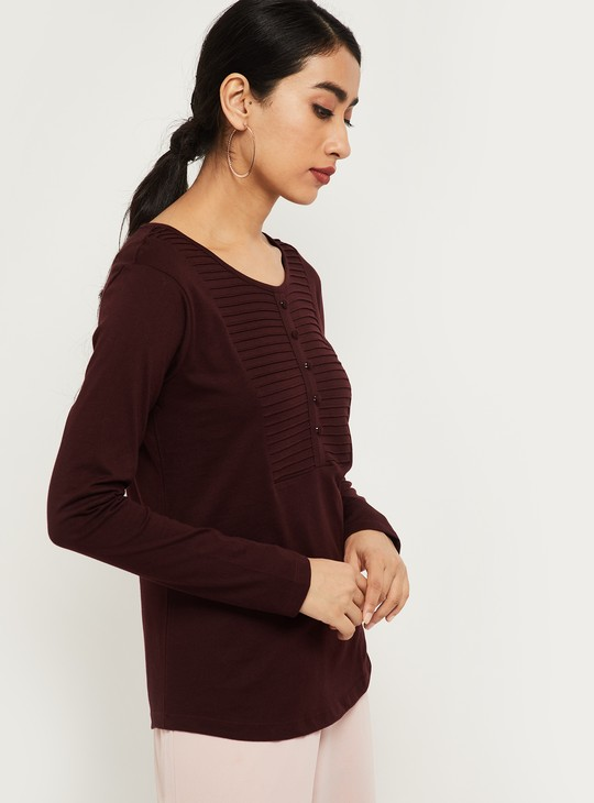 MAX Solid Round-Neck Top with Button Placket