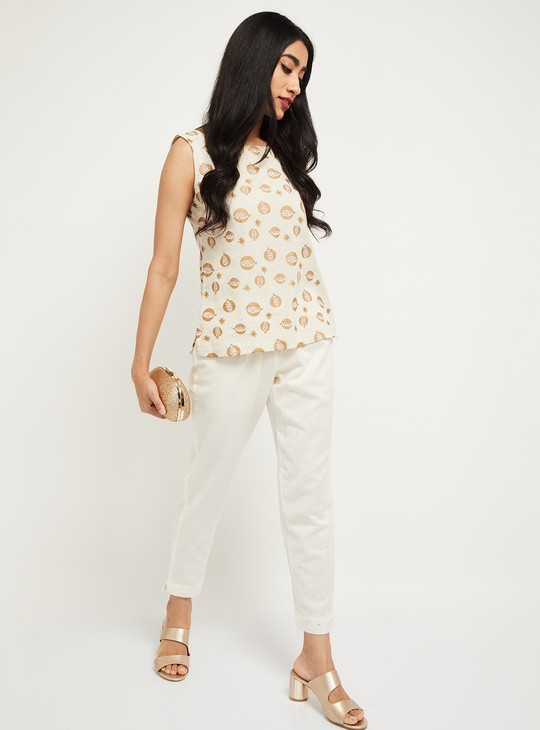 MAX Solid Cropped Straight Pants