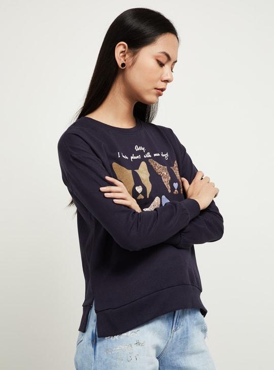 MAX Graphic Print Sequinned Drop-Shoulder Sweatshirt