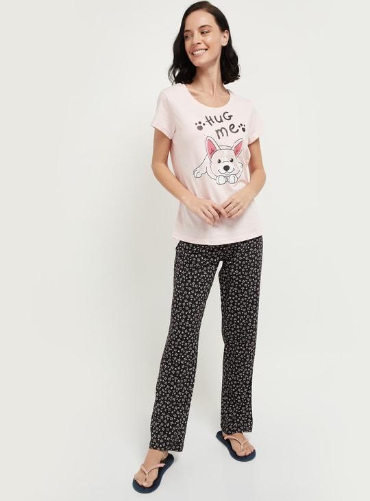 MAX Graphic Print Lounge T-shirt with Pyjama Pants