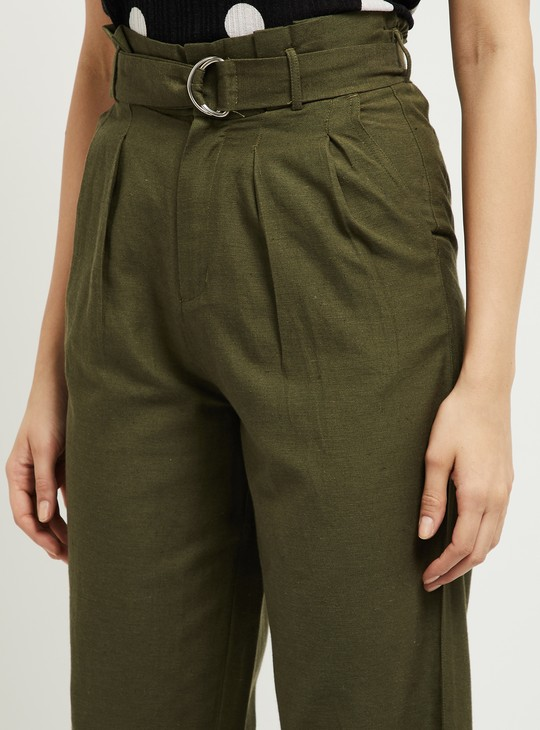 MAX Solid Pleated Cropped Trousers with Fabric Belt
