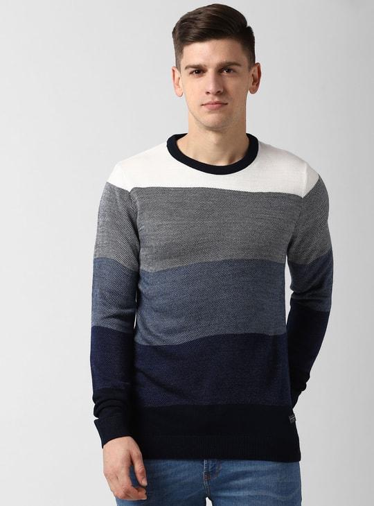 PETER ENGLAND Colourblocked Full Sleeves Sweater