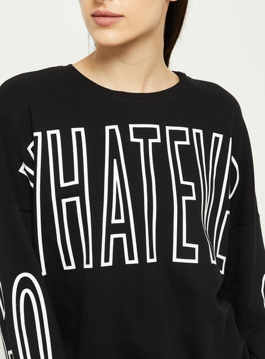 MAX Typographic Print Drop-Shoulder Sweatshirt