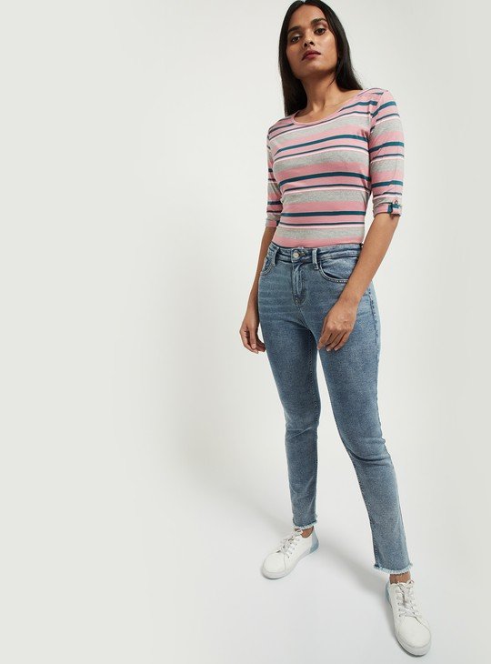 MAX Striped Round Neck T-shirt