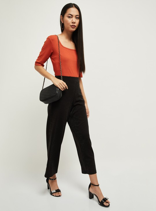 MAX Textured Short Sleeves Top