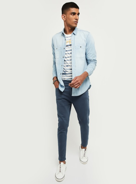MAX Solid Slim Fit Denim Shirt