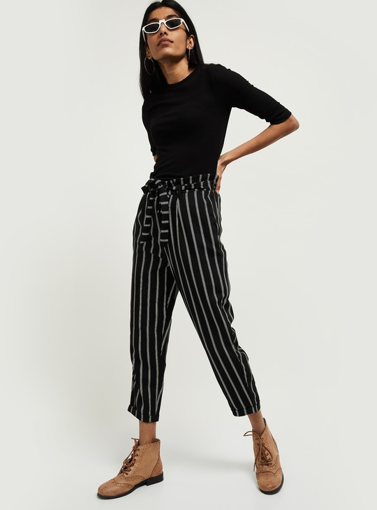 MAX Striped Ankle Length Pants