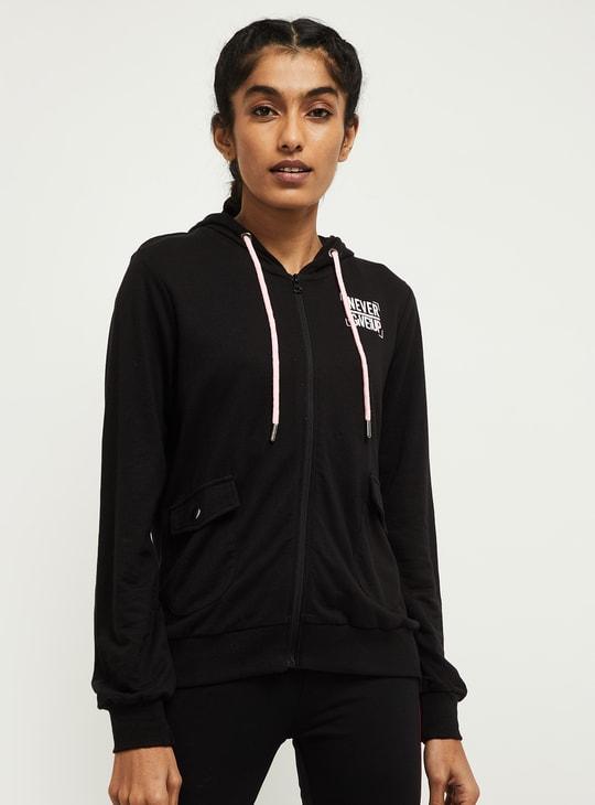 MAX Printed Zip-Closure Hooded Sweatshirt