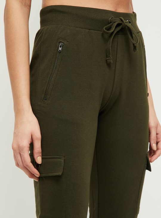 MAX Solid Track Pants with Drawstring Waist