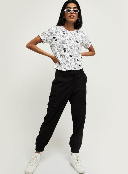 MAX Printed Cap Sleeves Cropped T-shirt