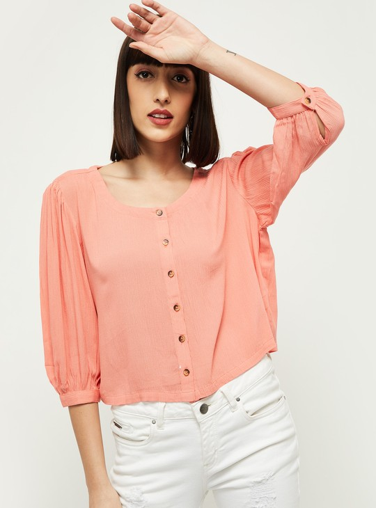 MAX Solid Scoop Neck Boxy Top