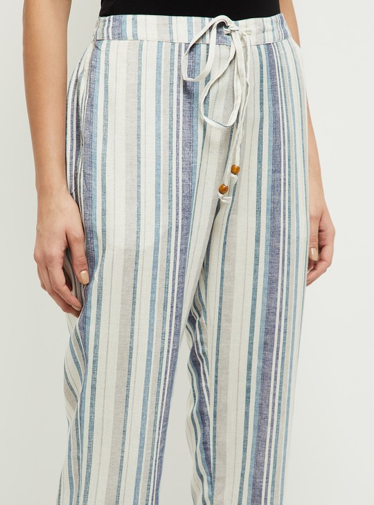 MAX Striped Palazzo Pants with Lace Hems