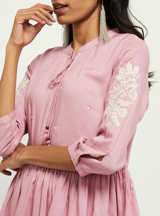 MAX Floral Embroidery Tunic with Tasselled Tie-Up