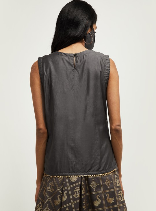 MAX Embroidered Sleeveless Top with Mask