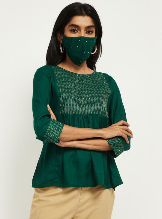 MAX Ethnic Embellished Top with Mask