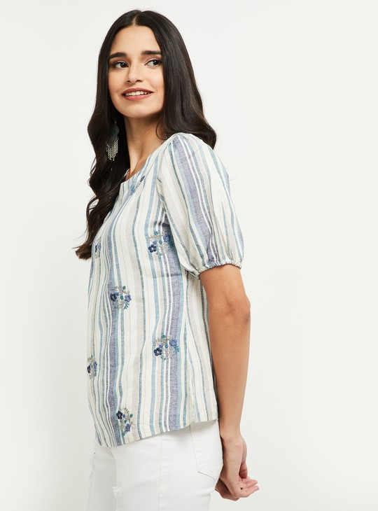 MAX Striped Short Sleeves Top