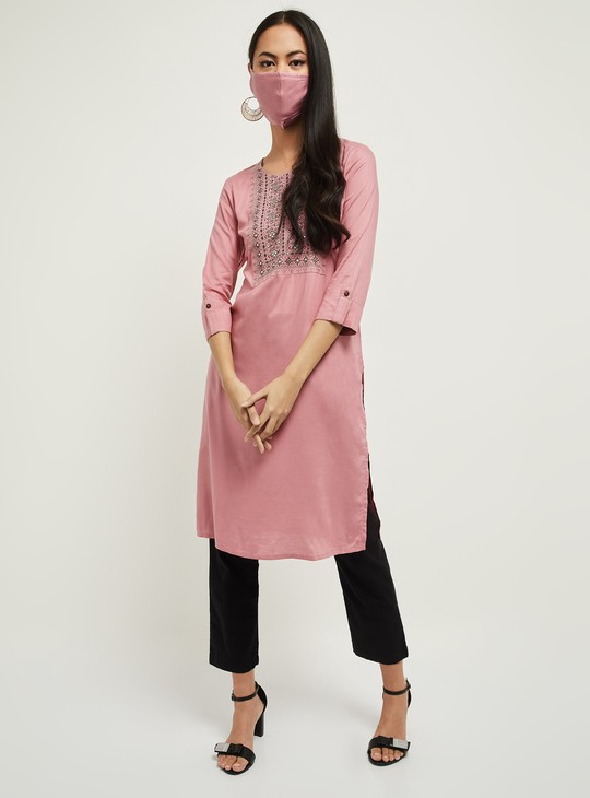 MAX Embroidered Regular Fit Straight Kurta with Mask