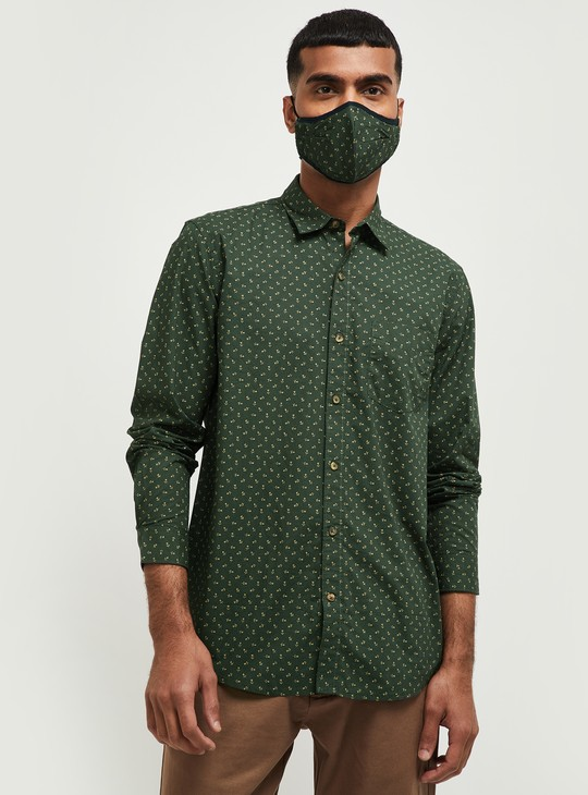 MAX Printed Regular Fit Casual Shirt with Face Mask