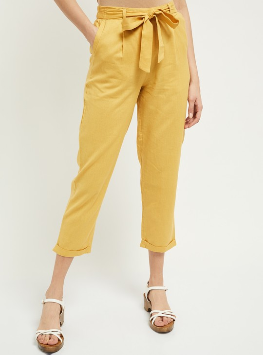 MAX Solid Pleat-Front Cropped Trousers with Sash Tie-Up