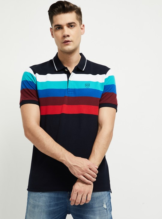 MAX Colourblocked Slim Fit Polo T-shirt