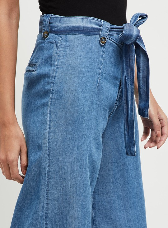 MAX Solid Flared Denim Trousers