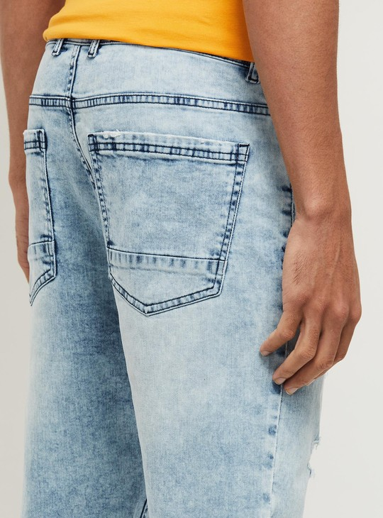 MAX Stonewashed Carrot Fit Distressed Jeans