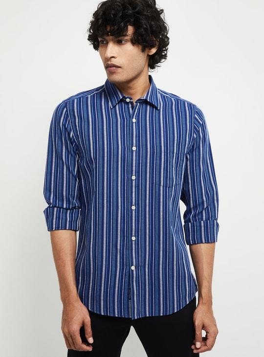 MAX Striped Linen Regular Fit Casual Shirt