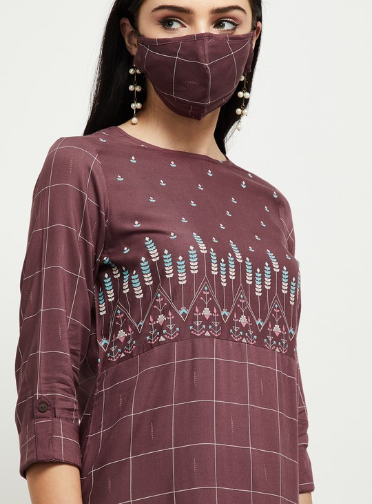 MAX Checked Straight Kurta with Face Mask
