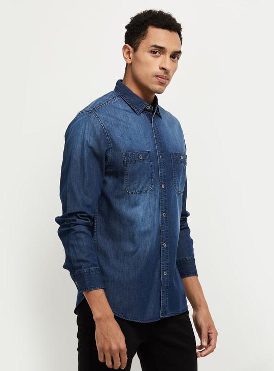 MAX Stonewashed Slim Fit Denim Shirt