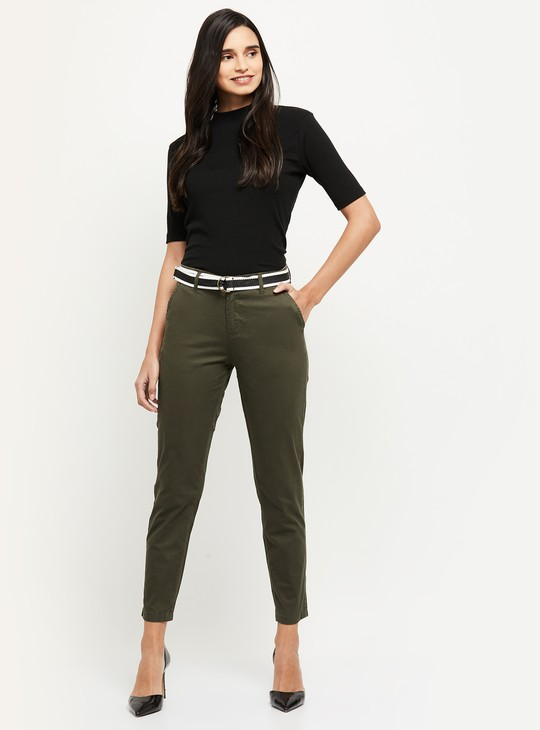 MAX Solid Trousers with Belt