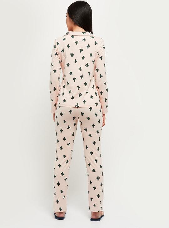 MAX Cactus Printed T-shirt and Pyjama Set