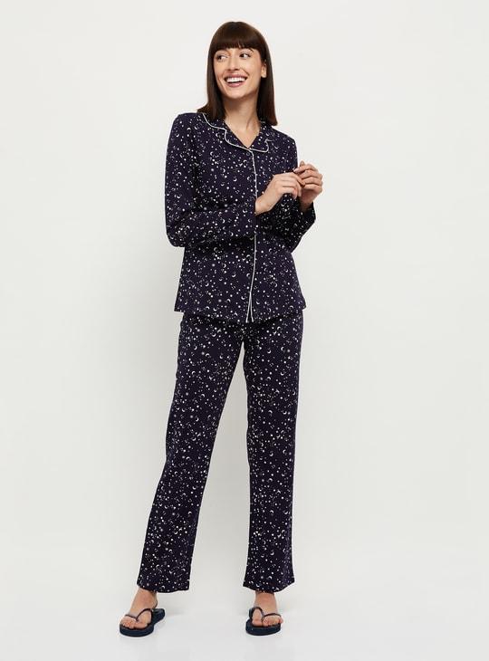 MAX Printed Button-Down Shirt with Pyjamas