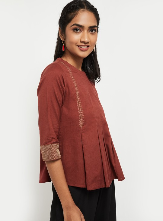 MAX Solid Three-Quarter Sleeves Top