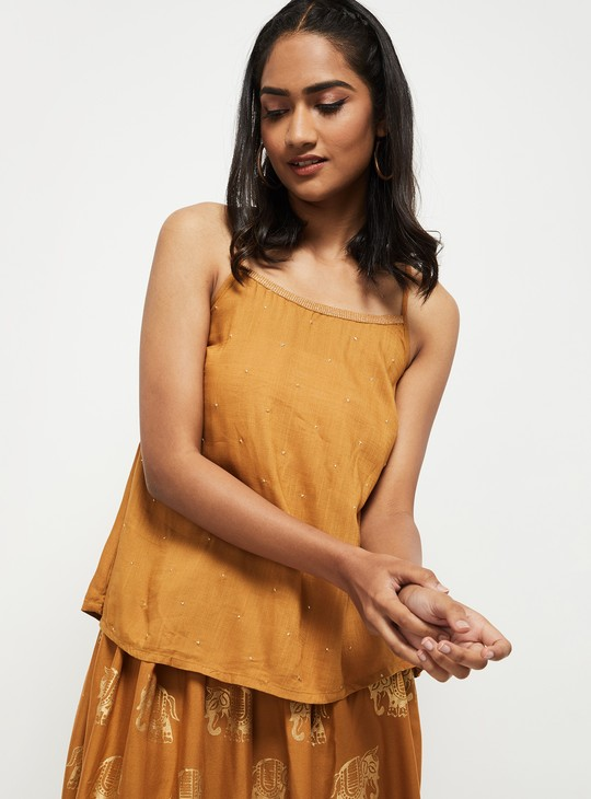 MAX Embroidered Boat Neck Top