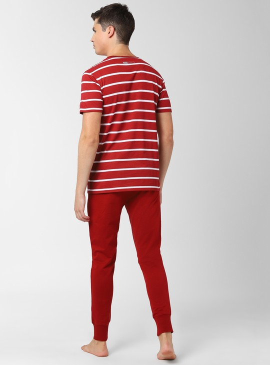 PETER ENGLAND Striped Lounge T-shirt and Joggers Set