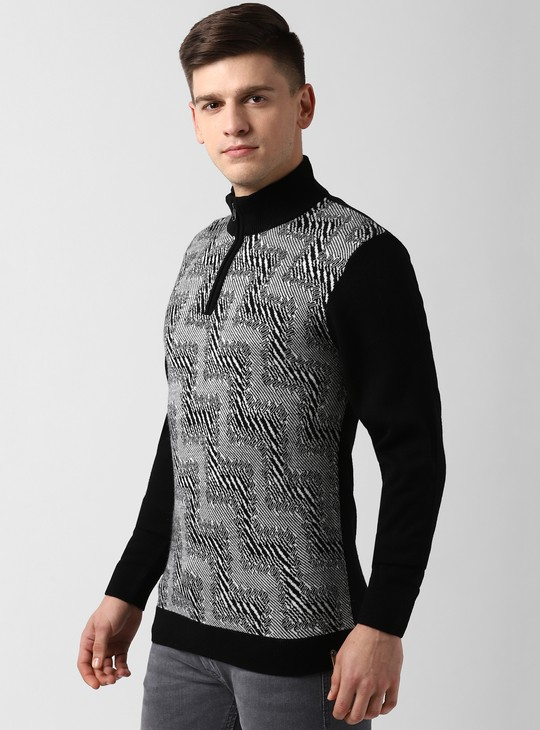 PETER ENGLAND Patterned High-Neck Sweater