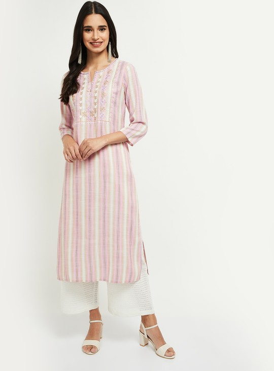 MAX Embroidered Kurta with Checked Dupatta