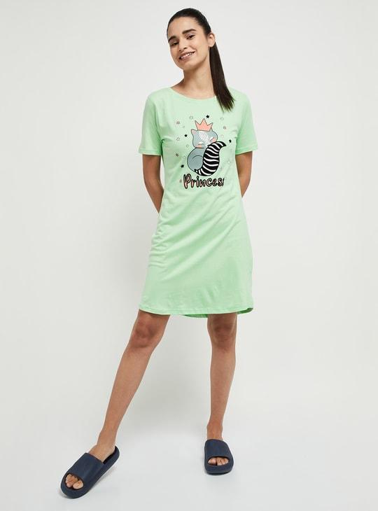 MAX Printed Round Neck Lounge Dress