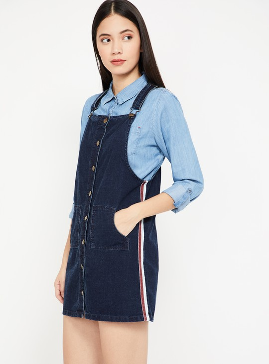 GINGER Solid Denim Pinafore Dress