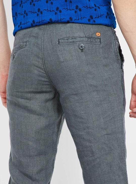 CELIO Solid Drawstring Detail Slim Fit Pants