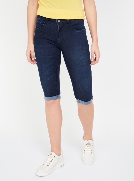 KRAUS Dark Washed Skinny Fit Denim Capris