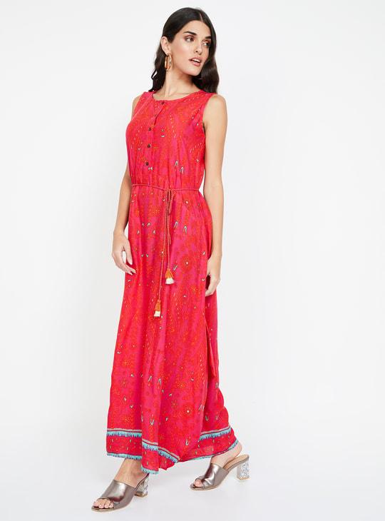 GLOBAL DESI Floral Print Sleeveless Maxi Dress