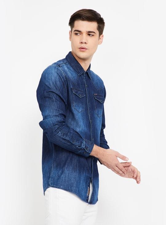 BEING HUMAN Washed Full Sleeves Regular Fit Denim Shirt