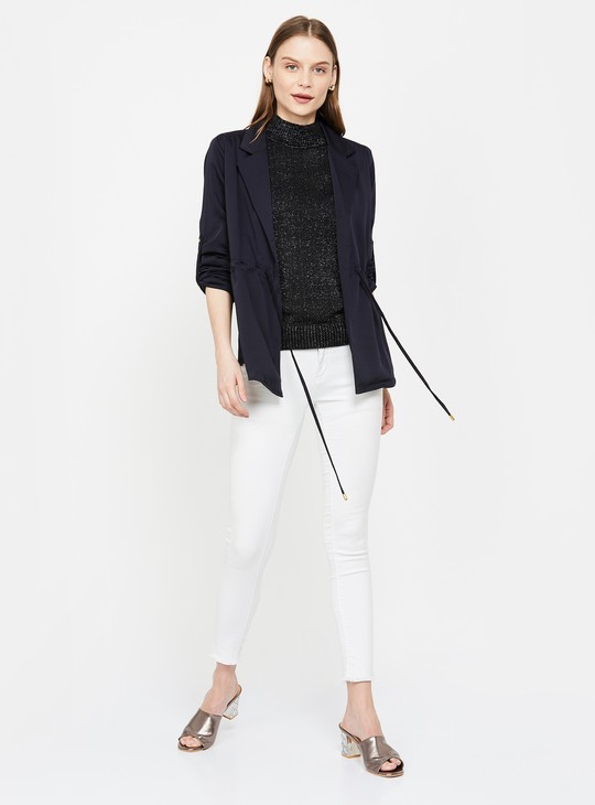 MS.TAKEN Roll-Up Sleeves Jacket with Tie-Up