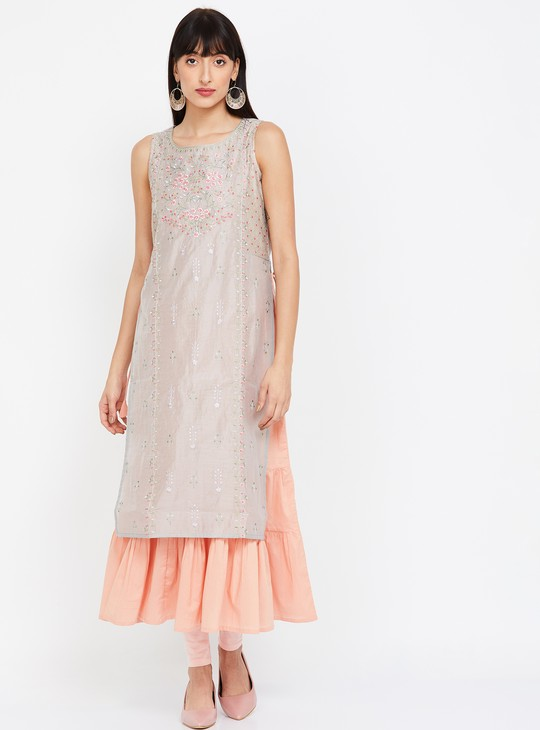 MELANGE Layered Kurta with Embroidery