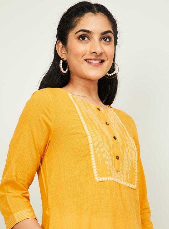 MELANGE Women Textured Three-quarter Sleeves Kurta