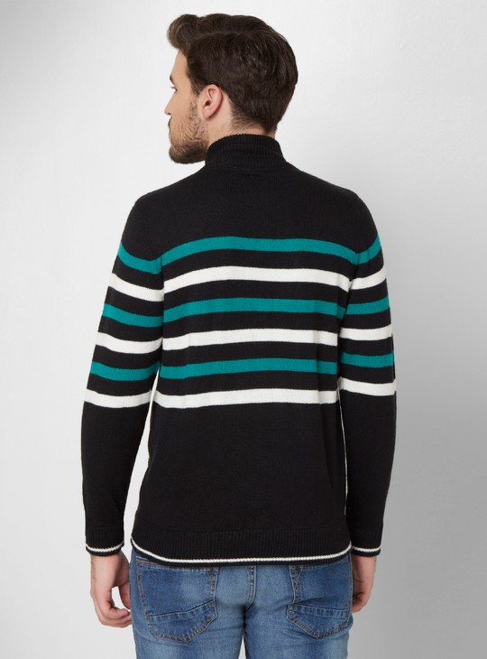MAX Striped Front Zip Sweater
