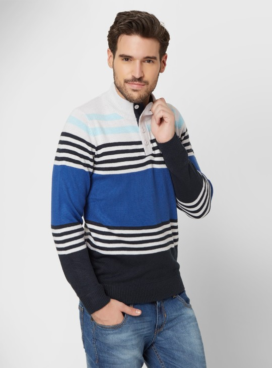 MAX Striped Chest Placket Sweater